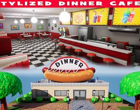 3D asset VR / AR ready Stylized Dinner Cafe