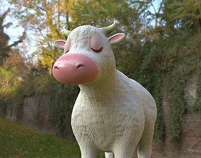3D asset lechera White Cow cartoon