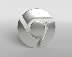 Chrome Logo 003 3D asset
