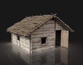 3D model Village Wooden Thatched House Cottage Hut Cabin 1