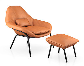 Rowan Leather Chair and Ottoman by West Elm 3D model