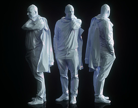 Coat over Shoulder Man Posing Low Poly 3D asset