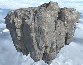 Low poly Fly Island Rock 09 181129 3D model