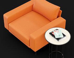 Chair piu single BT design and cara cofe table 3D model