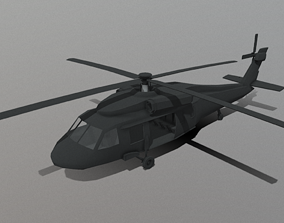 3D model low-poly Black Hawk Helicopter Low Poly
