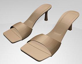 3D model fashion Square-Toe Spool-Heel Sandals 01