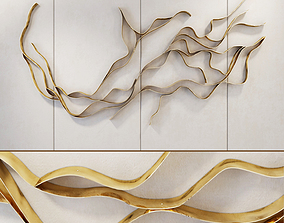 3D composition Waves Metal wall panel