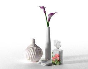 3D Cream Purple Calla Lily Composition