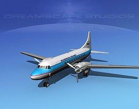 3D model Convair CV-340 Bluegrass Airlines