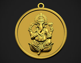 Ganesha Circle Pendant 3D printable model