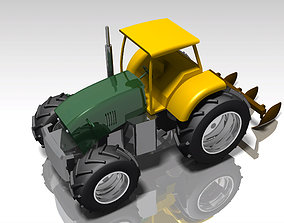 Agricultural tractor with mold board plough 3D