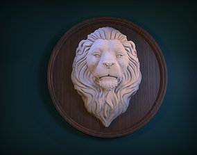 statue Lion Head Bas-relief 3D print model
