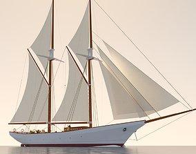 Schooner ship cruising 3D model