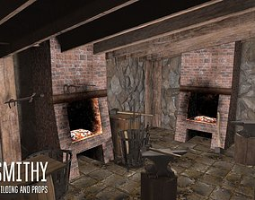 Smithy - building and props 3D model