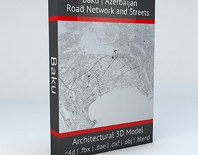 3D model topology Baku Road Network and Streets