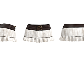 Mini Frill Skirt with Tied Lace 3D model