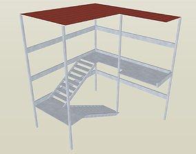 Metal External Covered Stair Case 3D model