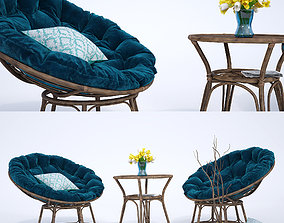 Natural rattan Chair 3D model