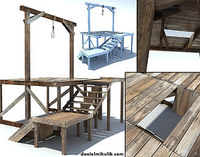 Low Poly Wild West Gallow 3D model