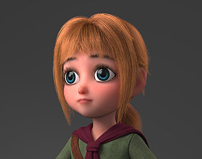 fur 3D model Cartoon Girl Rigged