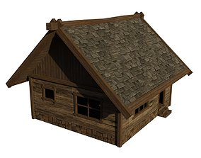 Wood house Low Poly 3D asset