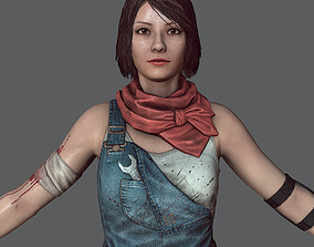 Mechanic girl Zombie killer 3D asset