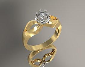 Diamond engagement Ring sterling 3D printable model