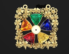 Pendant with Trillion stones and flowers 3D print model