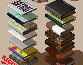 3D model Rigged BOOK COLLECTION - 14 unique books
