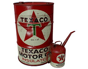 Old TEXACO Motor Oil Barrel and 3D model