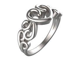 Fine Heart Detail Filigree Ring 3D printable model