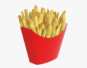 3D Fries french with fast food paper box 01