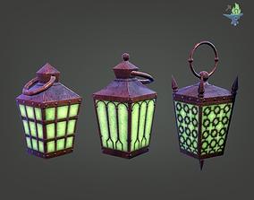 6 Hand Lanterns set 3D model