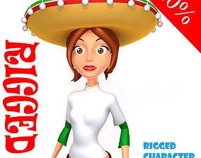 3D model Mexican woman cartoon rigged