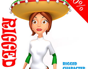 3D model Mexican woman cartoon rigged