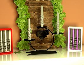 Candle-holder Candle and scene FREE 3D architecture