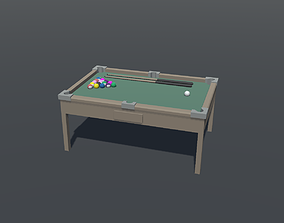 3D asset Pool Table Lowpoly