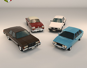 3D Low Poly Sedan Car Pack 01