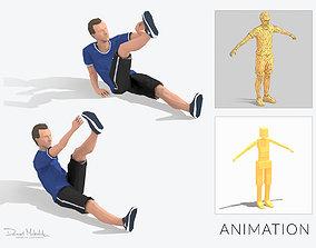 3D asset Leg Opposite Touch Exercise Man Animation