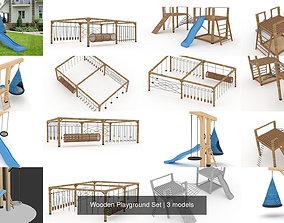 3D Wooden Playground Set sports