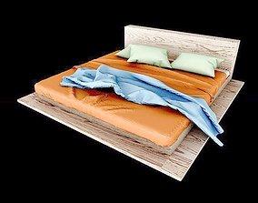 night Wooden Bed 3D model