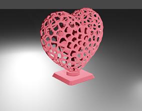Heart Voronoi Wireframe 3D print model mathematical-art