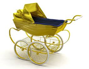 Yellow Baby Stroller 3D model
