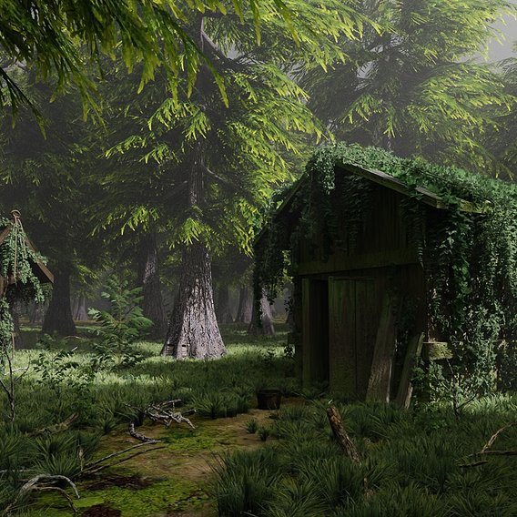 Abandoned Shack in Forest Scene | Scene 56