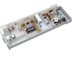 floor plan apartment F1 3D