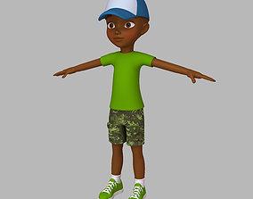 teenage 3D model Black Boy Cartoon