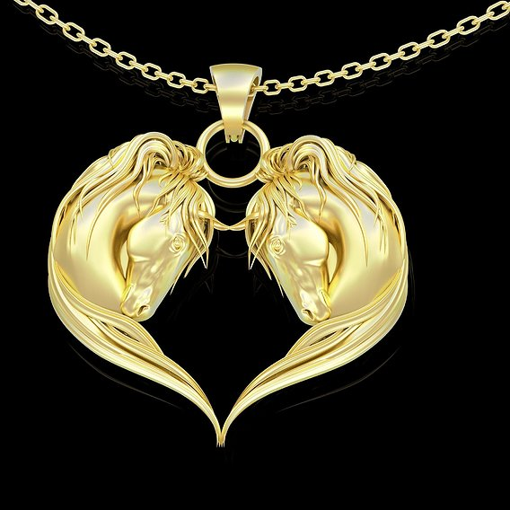 Horse Head Heart Shape Pendant jewelry Gold 3D print model 3D print model