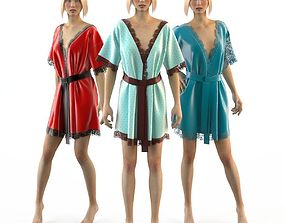 3D Set of women silk robes