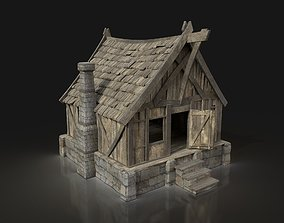 Medieval Town Basic House Cottage Hut Village 3D model 2