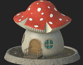 Cartoon mushroom house 3D model low-poly